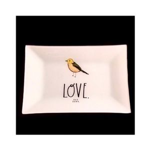 Rae Dunn LOVE Glass Accent Tray with Bird Graphic